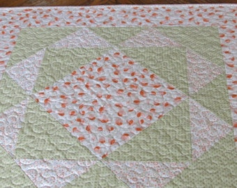 Square Peach, Green and Cream Colored Table Topper
