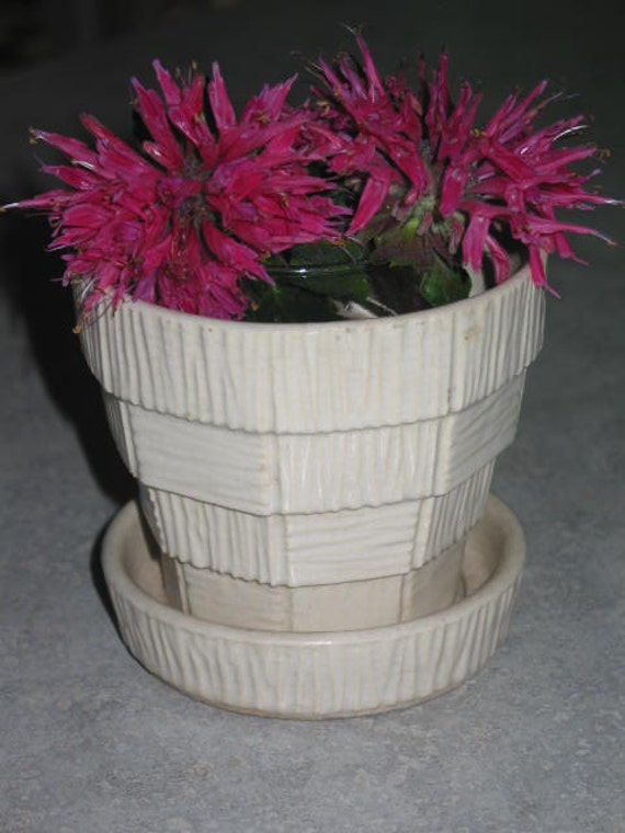 McCoy Pottery small textured basketweave cream white flower pot with saucer