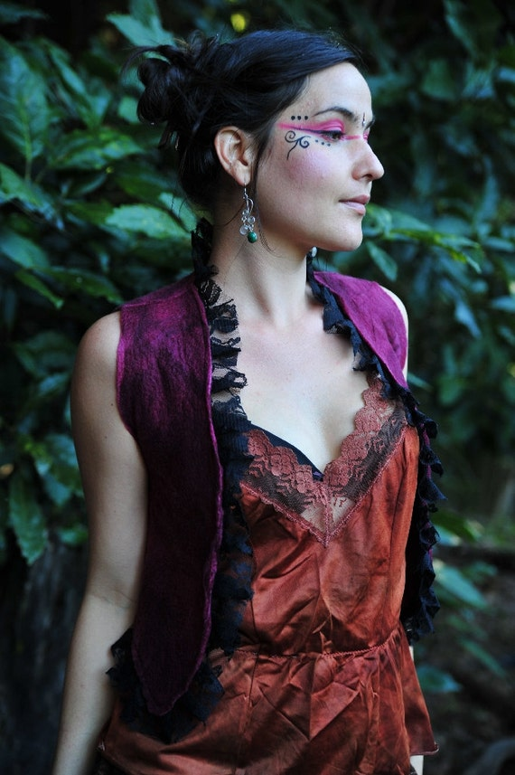 RESERVED for L - Felt Witches Pagan Crescent Moon Lace Bolero OOAK