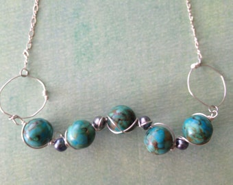 Woven Turquoise and Pearl Sterling Silver Necklace