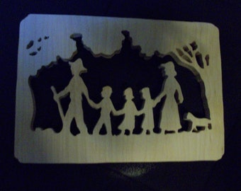 Family hikers wooden wall hanging