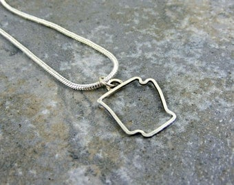 Charm with Necklace, Sterling Silver, Handmade, Personalized, State, Arkansas, Texas, Nebraska Outline, Oklahoma