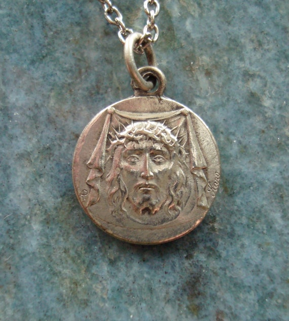 Private listing for iconomy ONLY Antique French Vintage Silver Shroud of Turin Crown of Thorns Catholic Religious Medal SIGNED Karo Necklace
