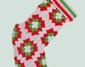 Christmas Stocking Crochet Granny Squares Red Green White Motifs