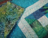Queen geometric Quilt, Split 9 patch in Blue and Green