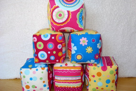 Soft and Cuddly Fabric Jingle Blocks Geo Girly Fabrics, Set of 6
