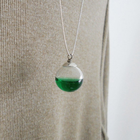 Hollow Glass Bubble Orb Necklace Jewelry - Hand Blown - Lampwork - Filled with Kelly Green Water Liquid