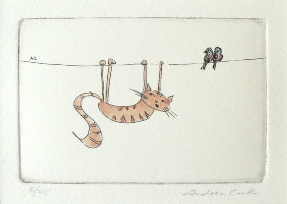 original cat etching and watercolor - hanging on in there