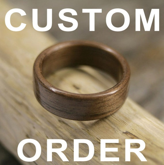 RESERVED for marshallstred - Custom Beeswing Walnut Bentwood Ring Pair - Handcrafted Wooden Rings