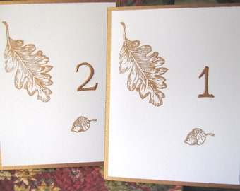 Fall Table Numbers,  Autumn Leaf and Acorn Wedding Numbers, Thanksgiving Table Numbers