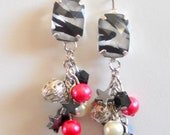 Long, Sexy, Bachelorette, Zebra, Black, Silver, Hot Pink, Dangle, Cluster, Earrings with Stars, Unique, Handmade, Fashion Jewelry