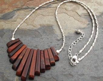Red Tiger Eye Thai Hill Tribe Silver Necklace -Woodland