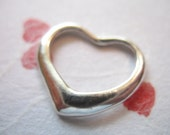 Clearance Sale.. 1 pc, 925 Sterling Silver HEART Charm Pendant, 15x13 mm, Designer FLOATING HEART, brides bridal love motif