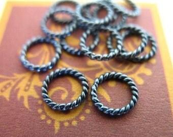 Oxidized Sterling Silver Jump Rings Jumprings,Twisted Closed / 10-100 pcs, 6 mm 18 gauge / SJR6mm.18 tjr.s tjr.67 ox solo