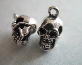 Sterling Silver Skull Charm Pendant, 1 pc, 14x9 mm, 3 D 3 Dimensional, Heavy, Solid, steampunk goth hot trend artisan