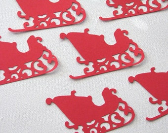 Christmas sleigh die cut embellishments in any color set of 6
