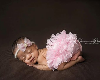 Pink Lace Diaper Cover Newborn Photography Prop with Matching Lace Headband in 0-3 Months Size, Newborn Props, Bloomers, Girl Props