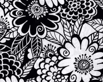 Zesty Zinnia in Black/White by Michael Miller - Last Yard