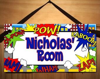 Super Hero Boys Bedroom DOOR SIGN Wall Art DS0042