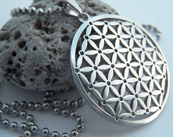 Flower of life - stainless steel pendant on ball chain mens or womens sacred geometry necklace.