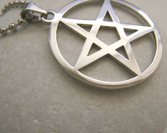 Pentagram Pentacle - stainless steel pendant on ball chain mens or womens necklace