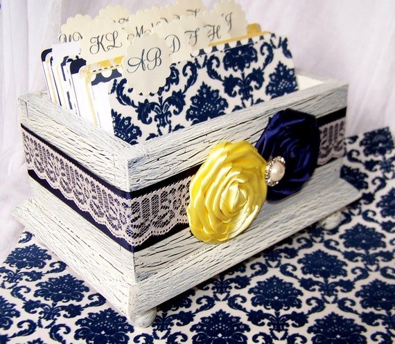 Wedding Guest Book Box - Navy Blue and Yellow, Ivory Shabby Chic Box