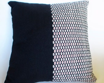 DecorativeThrow Pillow Handwoven Cushion Cover Black Red and White