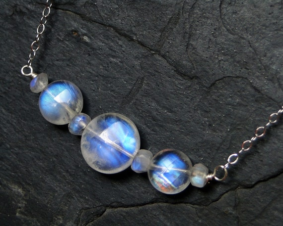 Moonstone Necklace, AAAA Grade Rainbow Moonstone, Sterling Silver--CircesHouse on Etsy--Three Sisters
