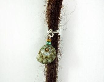 Teal Sea Shell Dreadlock Bead Silver Accessory Extension Accessories Dread Boho Bohemian Hippie Silver Sea Shel Dangle
