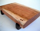 reclaimed beautiful thick cherry raised serving/cutting board eco hardwoods