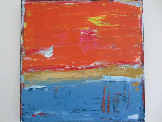 Original Abstract Painting Orange Blue Art Modern Contemporary Painting, 24x24 inches, Ready to hang