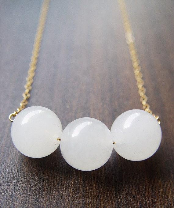 Round Vanilla Moonstone Necklace -14k Gold