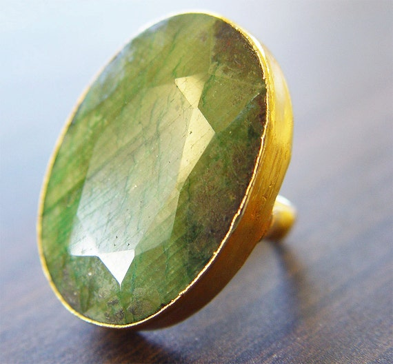 Sage Green Agate Ring -14k Gold - OOAK - Statement Piece