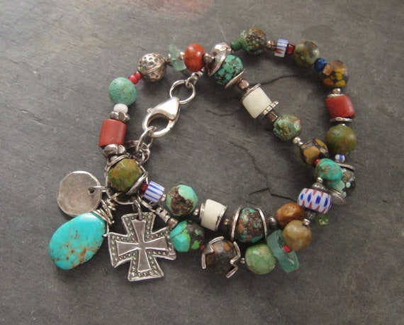 Artisan Jewelry, African Trade Beads, Turquoise, FIne Silver Sterling Silver Chain, Artisan Bracelet, Sundance