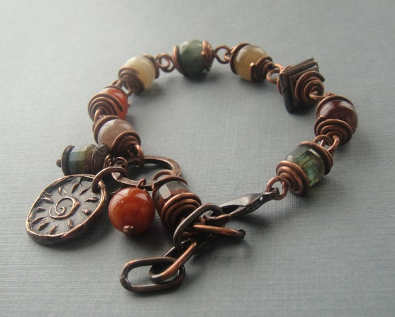 SALE, Artisan Jewelry, Agate, Handmade Copper Charm, Czech Glass Beads, Wirewrapped Bracelet, Sundance Style