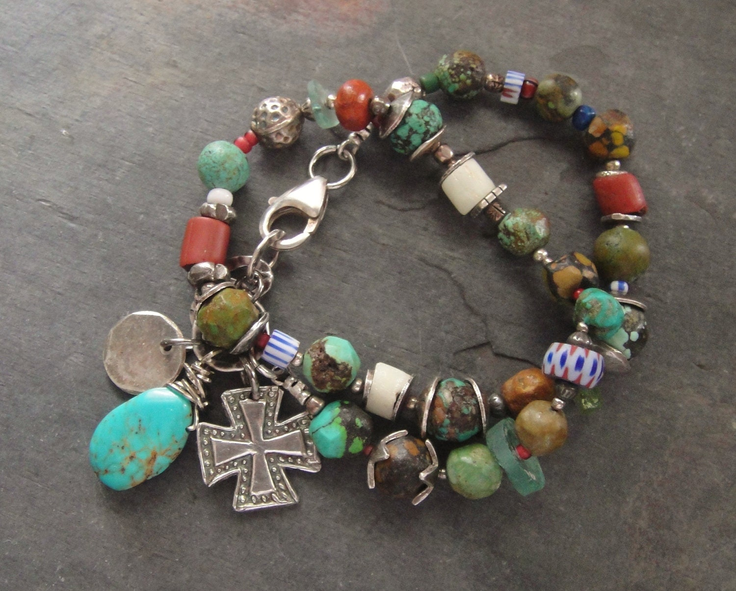 Artisan Jewelry African Trade Beads Turquoise Fine Silver