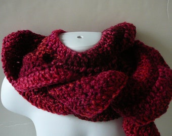 Crocheted Red Ruffled Scarf     READY TO SHIP     One Size