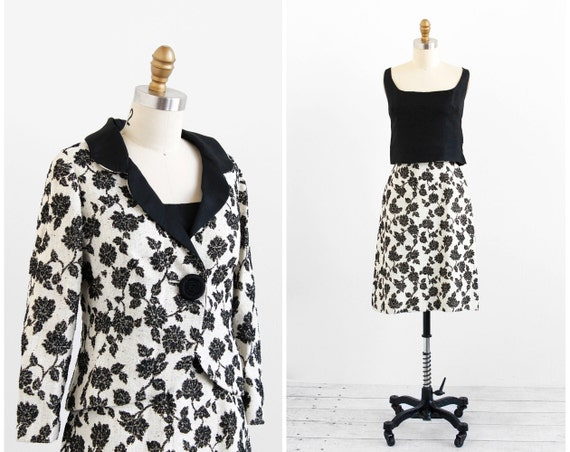 r e s e r v e d - vintage 1960s dress / 1960s suit / Black and White Floral Mad Men Three Piece Skirt Suit
