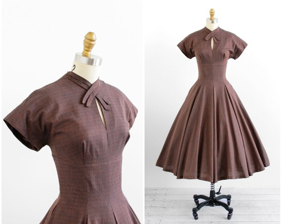 vintage 1950s dress / 50s dress / Black and Orange Full Sweep Circle Skirt Dress