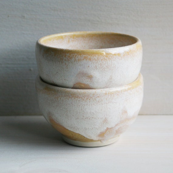 Tea Cups - Creamy White - Pair of Bowls -Yunomi Tea Cups - Handmade Ceramic Teacups - Pottery Made in the USA