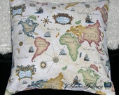 """World Map Globe Geographic 18"""" x 18"""" Pillow Cover"""