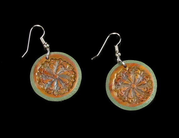 Rustic Clay Disc Earrings, Polymer Clay Dangle Earrings, Boho Rustic Jewelry, Unique Handmade Gift for Her, Womens Gift, Earthy Gift Jewelry