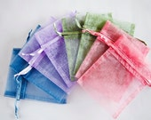 100 Organza Bags, 3x4 inch, multi color dusty tones, dusty blue, lavender, moss green, rose dusty pink
