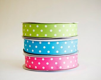 Polka Dot Grosgrain Ribbon, 3 colors, choice of 3 sizes, 25 yds. of each on the spool, 75 yds total