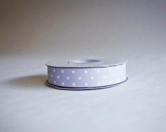 Polka Dot Grosgrain Ribbon, 25 yds. on the spool, Lavender, choose from 3 widths, 3/8ths, 5/8ths, or 7/8ths