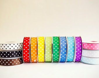 Polka Dot Grosgrain Ribbon Set, 15 colors, 3/8ths, 15 full spools, 25 yards each