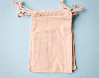 15 Muslin Bags 5x8, Natural Drawstring Sack, Rustic Gift Bag Wedding Favor