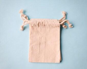 25 Muslin Bags 3x4, Natural Drawstring Sack, Rustic Gift Bag Wedding Favor