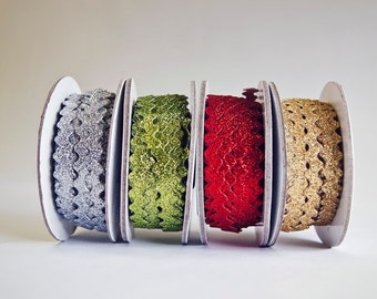 40 Yards of Glitter Ric Rac, 3/8ths inch, 4 Colors, 10 yds. of each, Silver, Gold, Red, and Apple Green, Christmas Rick Rack