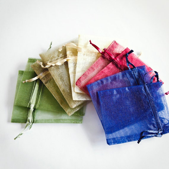 100 Organza Bags, 3x4 inch, multi color variety, Moss Green, Toffee, Ivory, Burgundy, Navy
